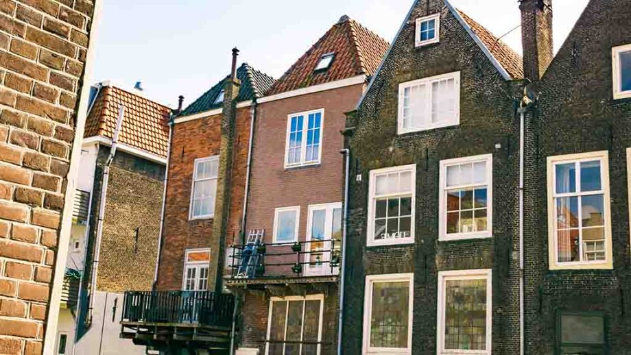 Canal houses in old town of Dordrecht in the city centre