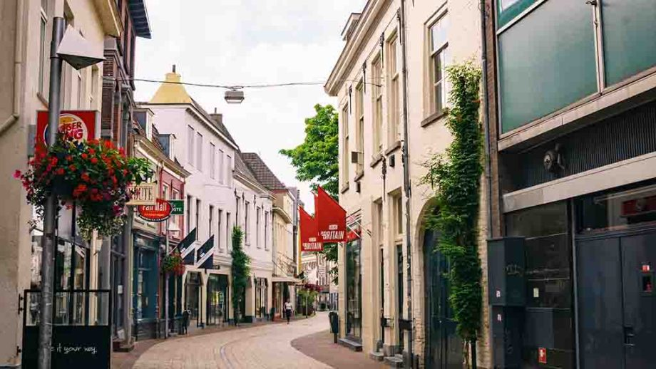 A shopping street in the Dutch city of Arnhem, Gelderland, The Netherlands