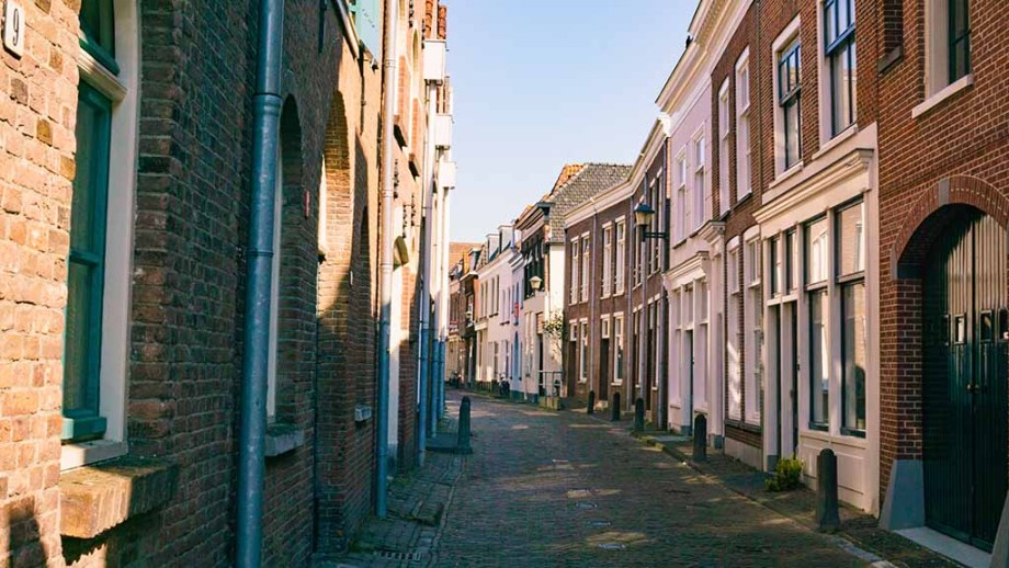 view on a street in the town of Gorinchem, The Netherlands