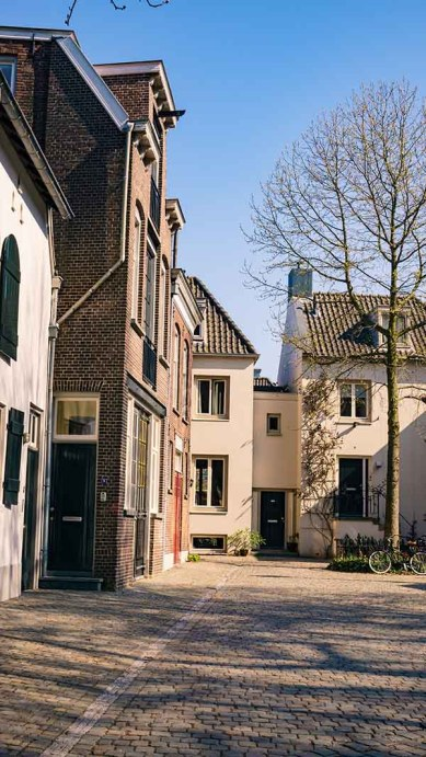 One of the beautiful streets with old historic buildings in the Dutch city of Den Bosch/ 's-Hertogenbosch, Noord (North)- Brabant, The Netherlands