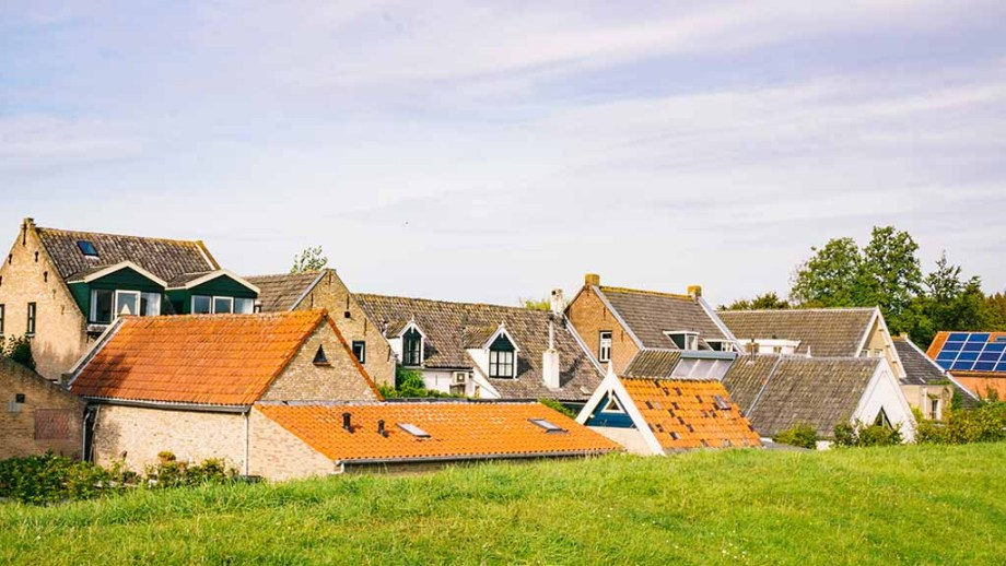 Cityscape of the village of Drimmelen with it's orange and grey roofs: One of the best destinations to visit in Noord (North)- Brabant, The Netherlands