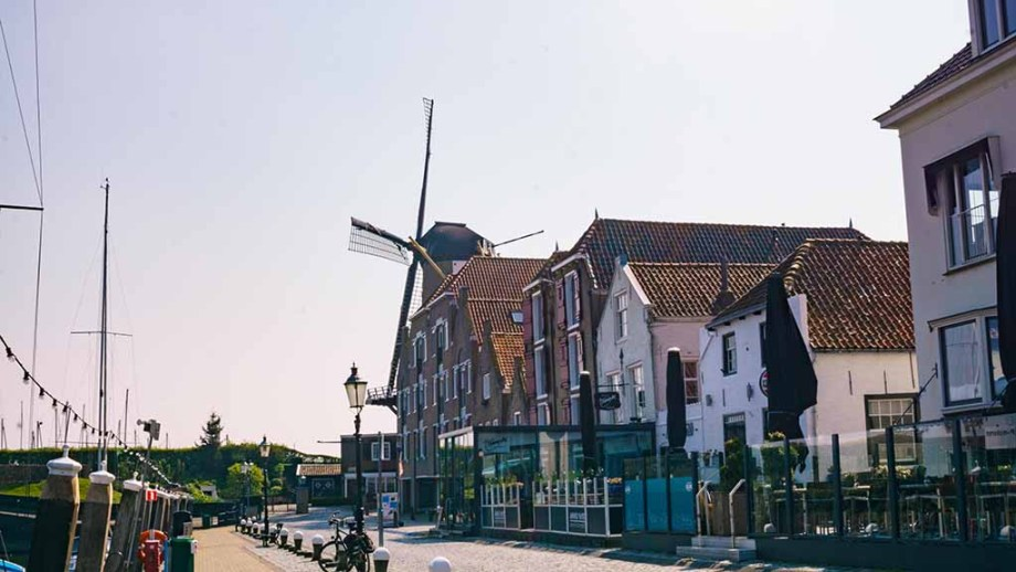 Windmill and harbour in the small town of Willemstad (Noord/ North- Brabant), The Netherlands