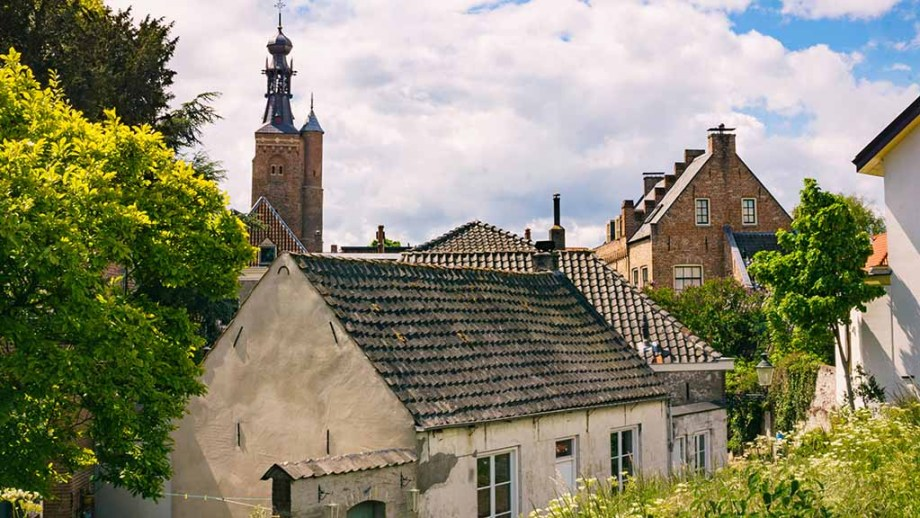 View on historic houses in the town of Zaltbommel, The Netherlands