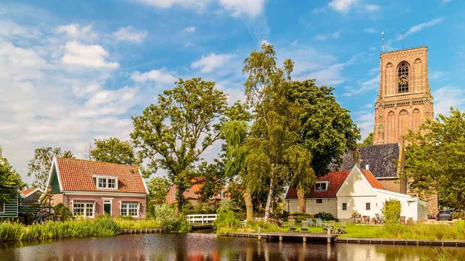View at the small Dutch historic village of Ransdorp north of Amsterdam