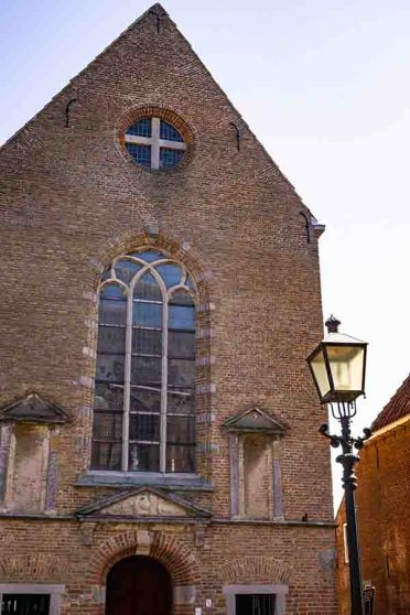 A photo of an old brown brick chapel in Montfoort, The Netherlands