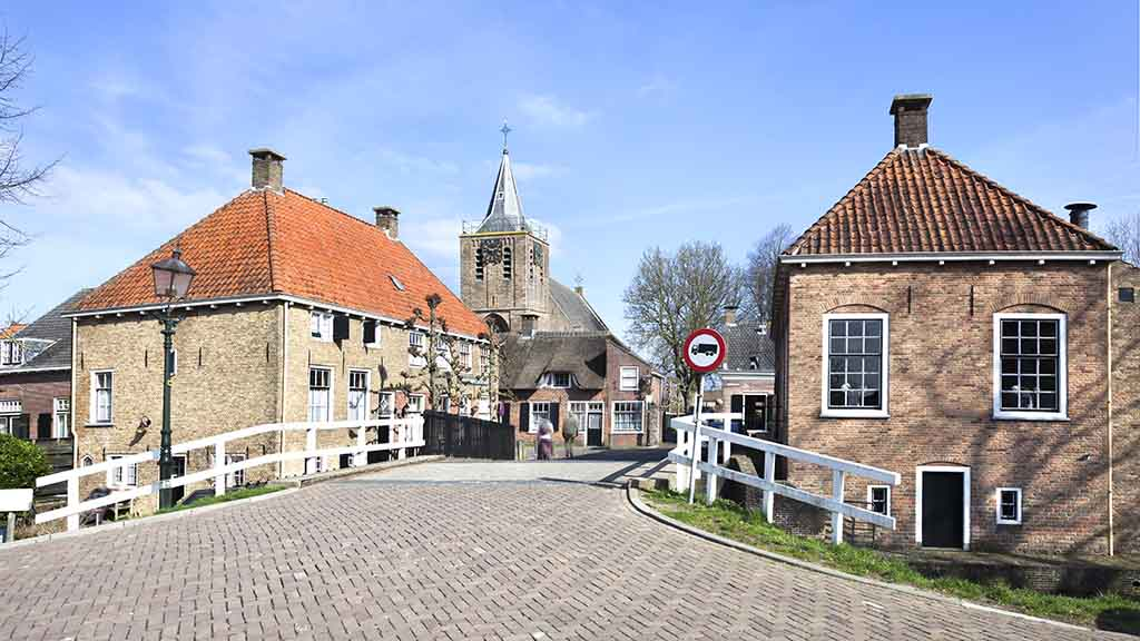 Small picturesque village Linschoten in the Netherlands