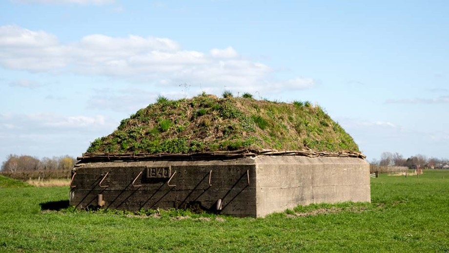 Defensive military fortification in a meadow near Schalkwijk, The Netherlands
