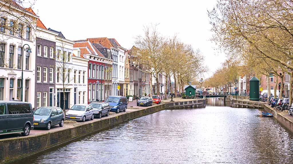 View on a canal and canal houses in the city of Gouda, The Netherlands