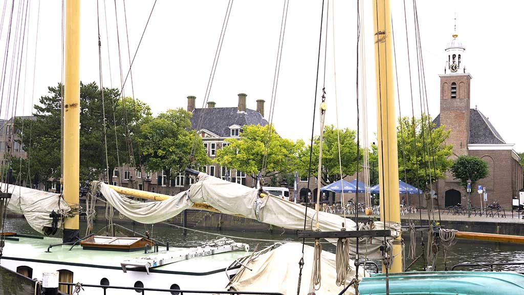 view on a boat in the canal in Hellevoetsluis, The Netherlands