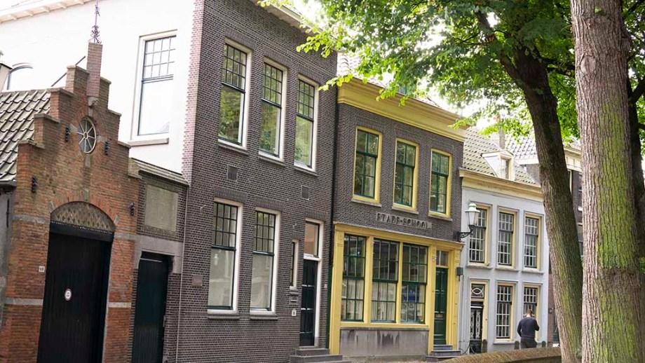 view on historic dutch brick buildings in the town of Vlaardingen, The Netherlands