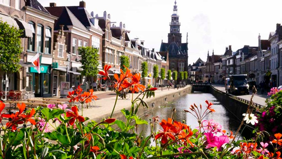 View on flowers, canals and canal houses in the city of Bolsward, Friesland, The Netherlands