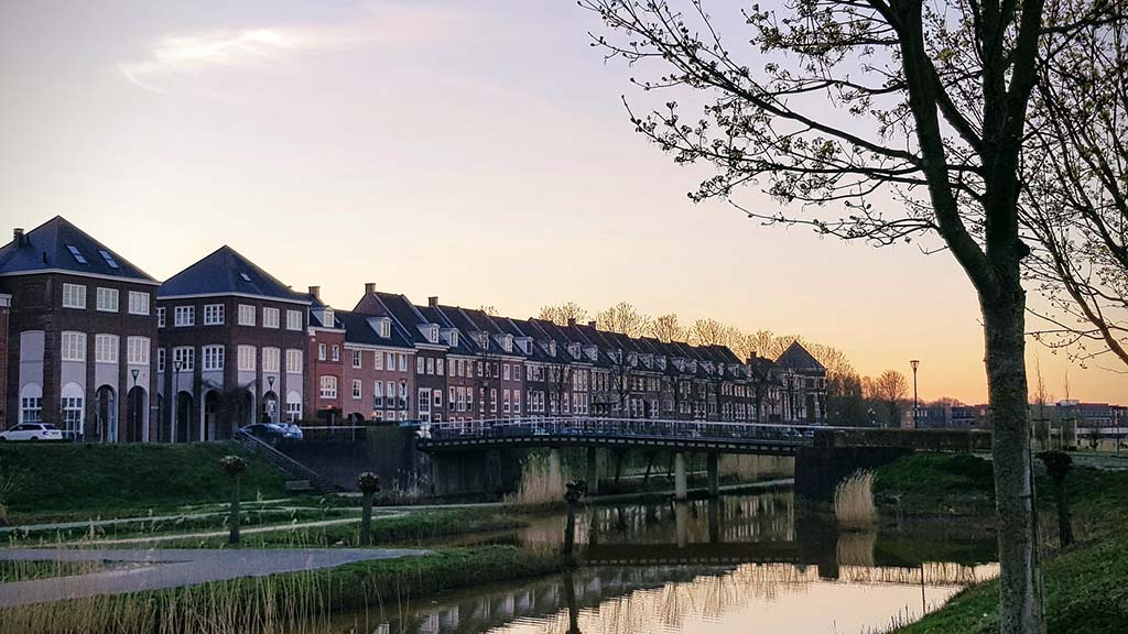 View on canal buildings in city of Helmond, Noord- Brabant, The Netherlands