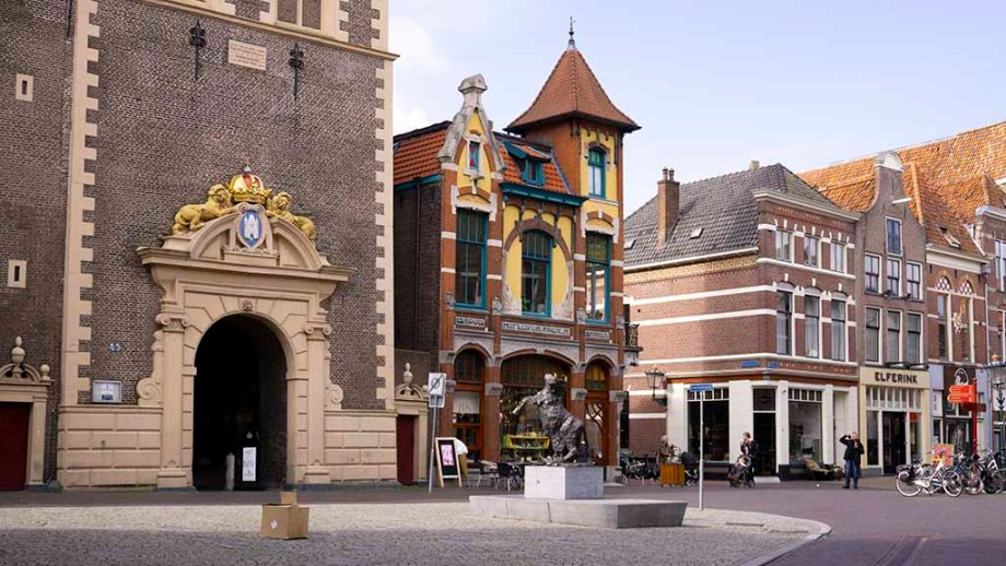 View on historic buildings in the city of Kampen, Overijssel, The Netherlands