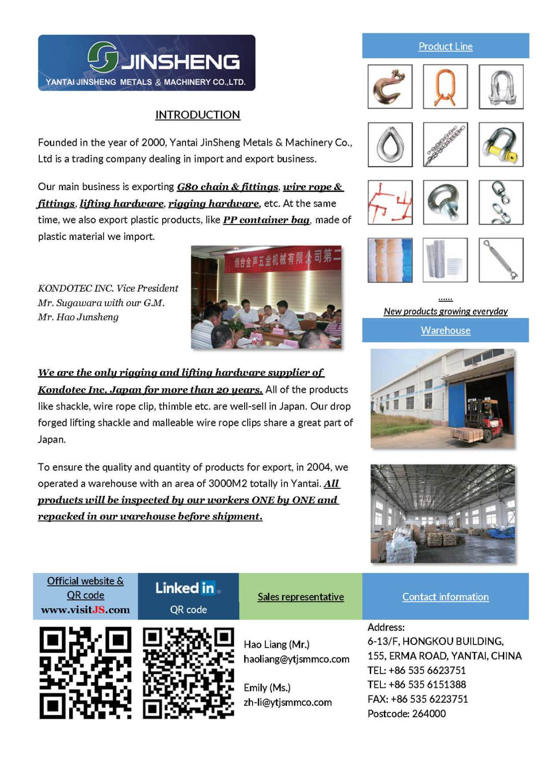 New ONE-Page Brochure of our company - Yantai JinSheng : Specialist ...