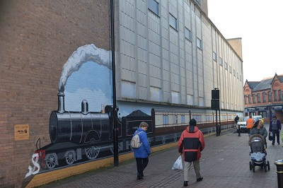 train mural Oswestry