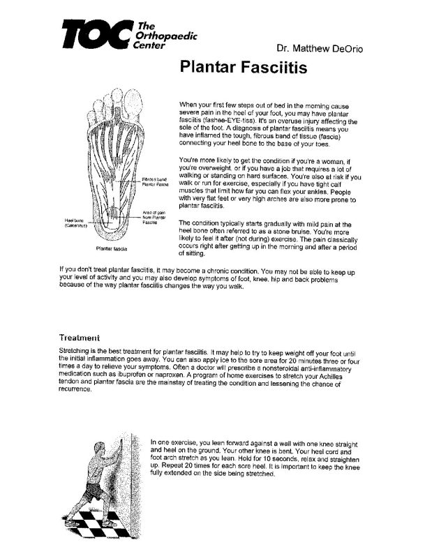 DEORIO_Plantar_Fasciitis | The Orthopaedic Center (TOC)