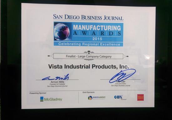 San Diego Business Journal Manufacturing Award