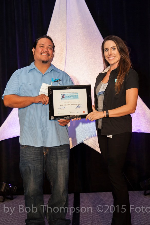 Josh Borja and Britney Blue receiving the San Diego Business Journal Manufacturing Award