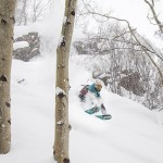 VBSR staffer, Barclay Rabin, enjoys skiing powder in the aspen glades.