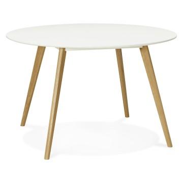 belle table blanche scandinave de forme ronde camden vistadeco
