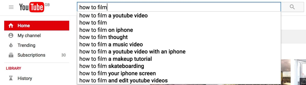 youtube search bar suggestions