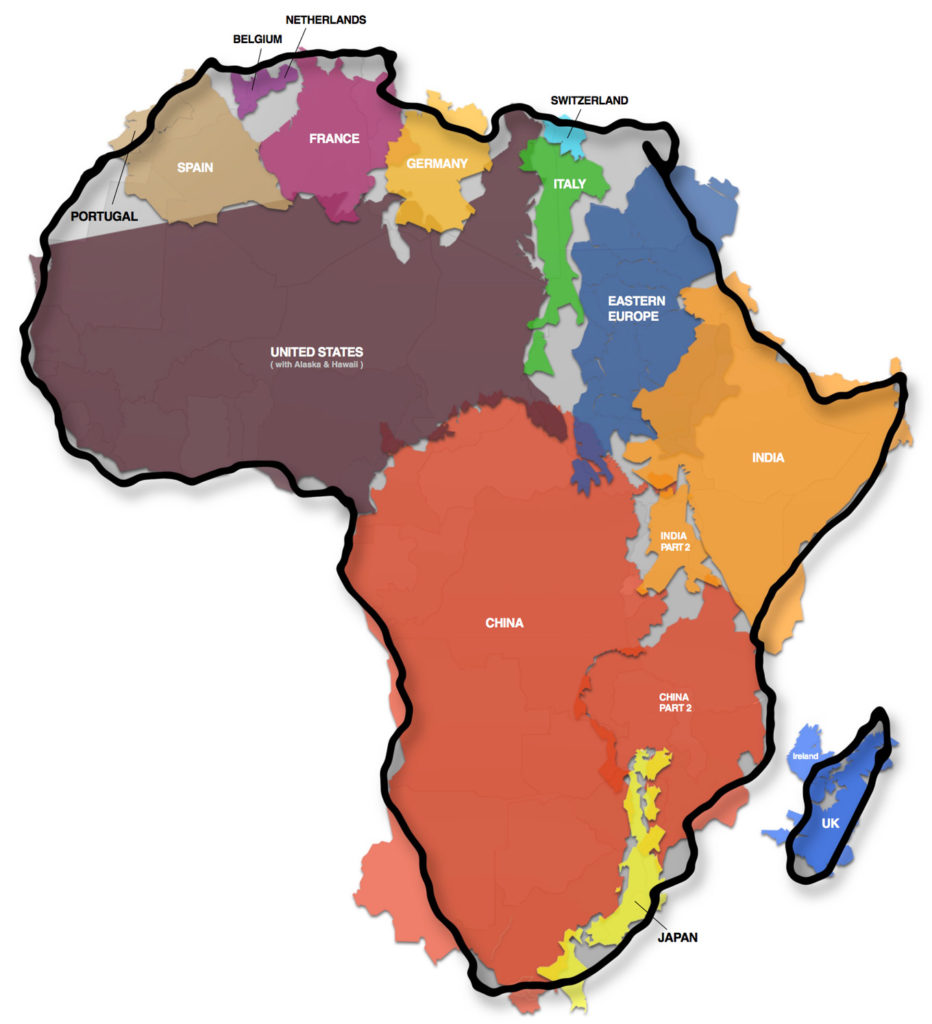 true size of africa map graphic