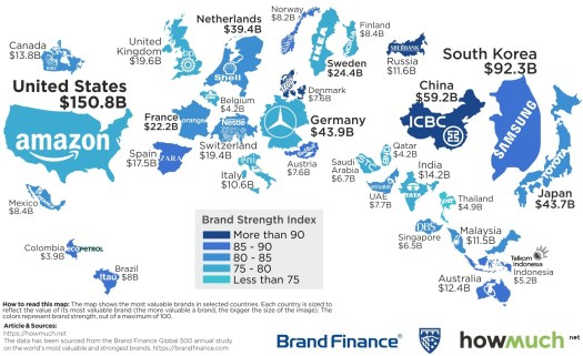 Map: The Most Valuable Brand in Each Country in 2018