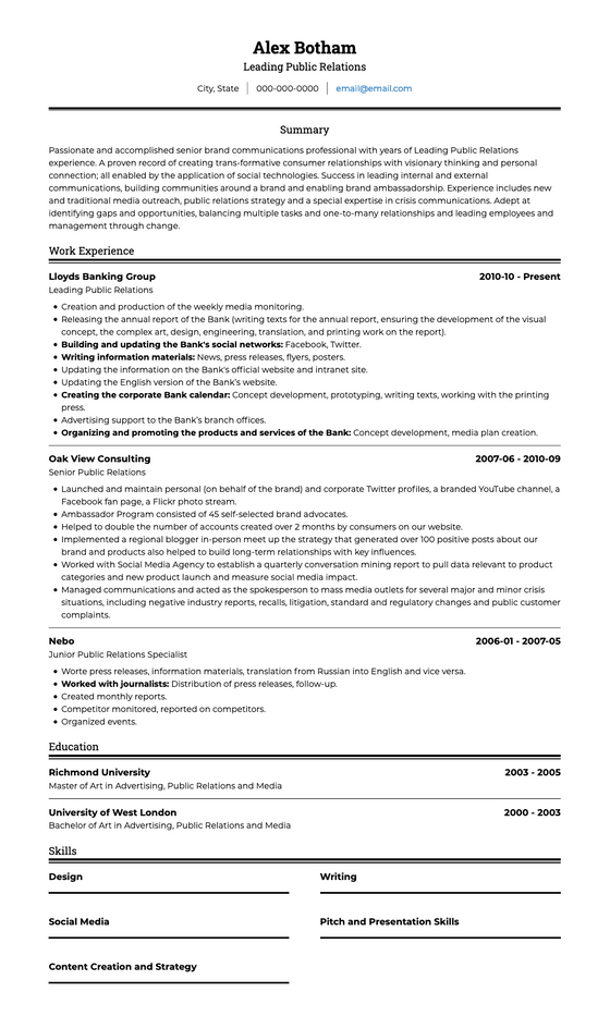 Chronological resume, functional resume, and combination resume. Ats Cv Template For 2020 Visualcv