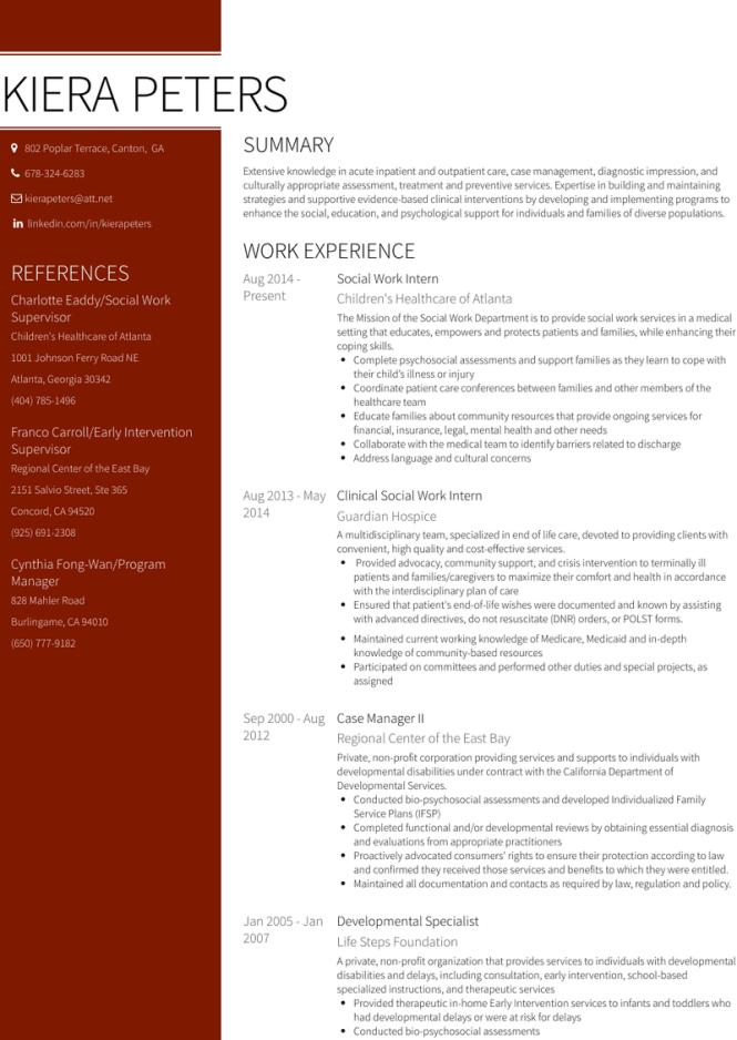 Social Work Intern Resume Samples And