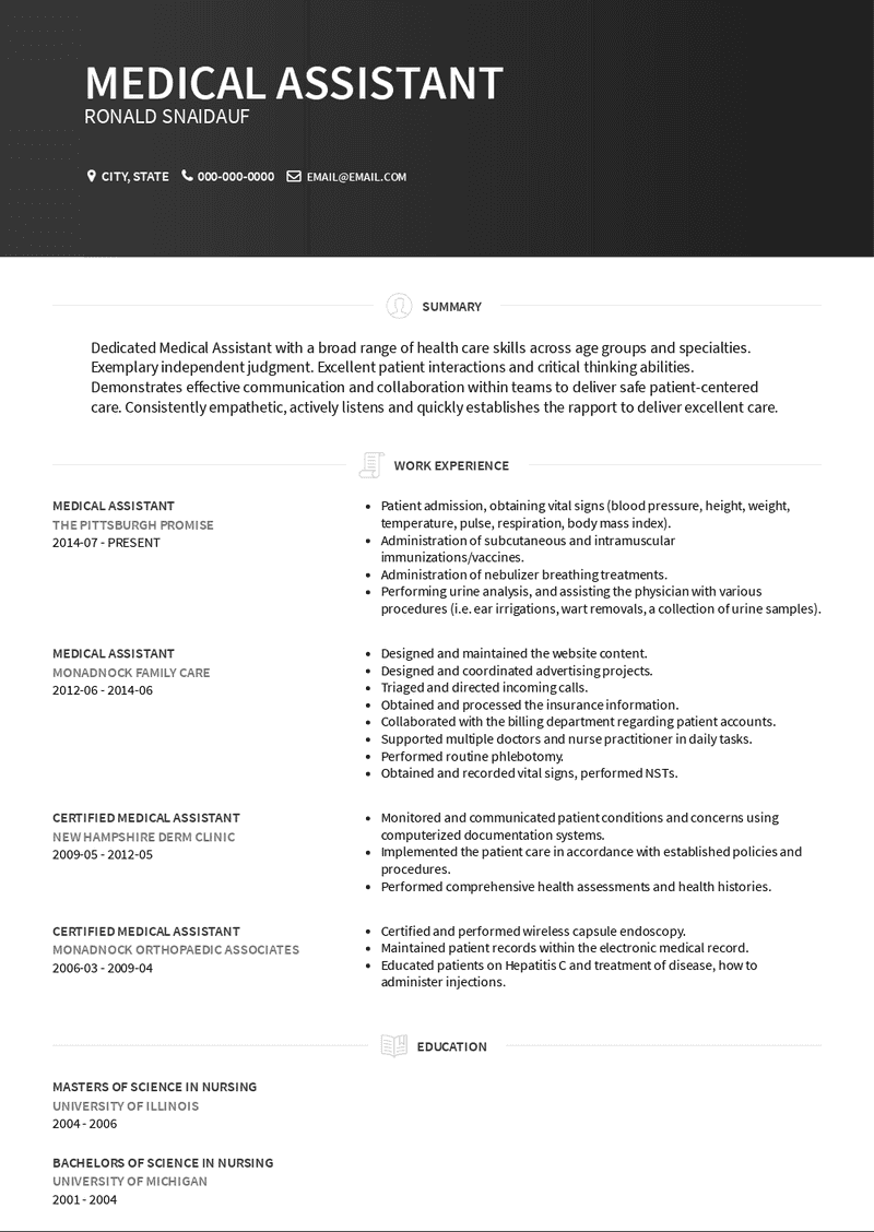 Medical assistants are a vital part of the healthcare sector. Medical Assistant Resume Samples And Templates Visualcv