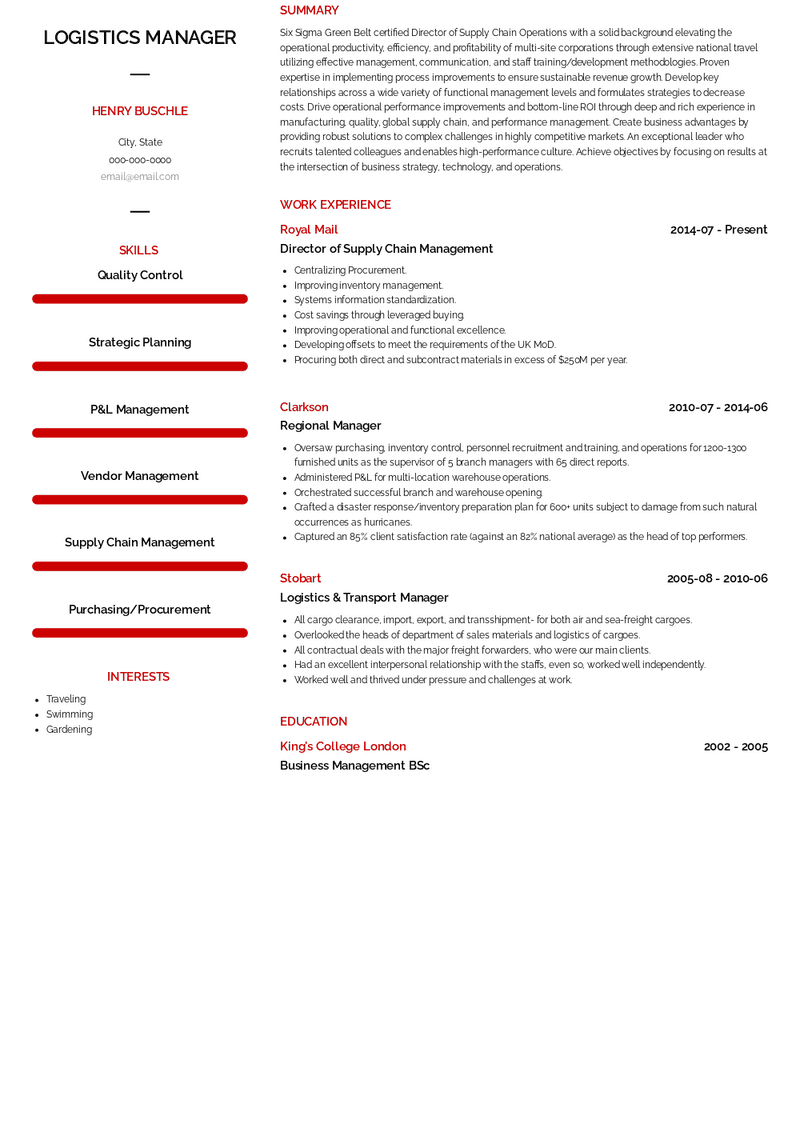 Sales email outreach is hard. Logistics Manager Resume Samples And Templates Visualcv