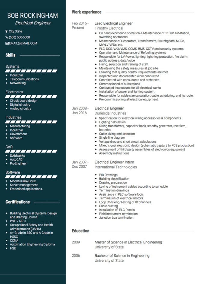 Electrical Engineer Cv Examples