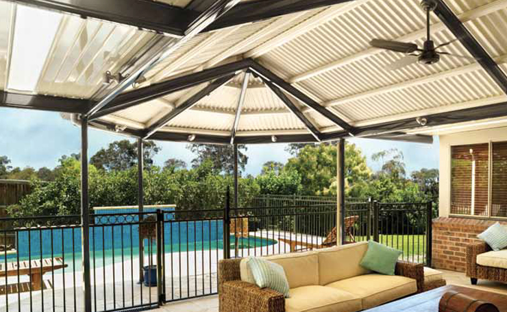 Verandah With Gazebo Roof, Lights and Ceiling Fan.
