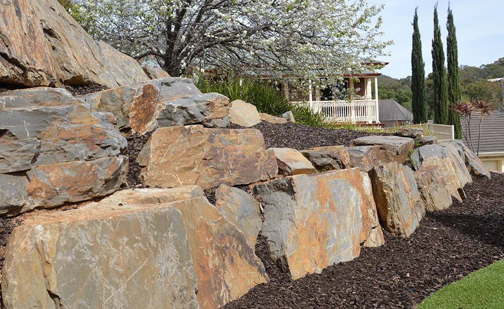 Bluestone Rock Retaining Walls   Visual Landscape Gardening