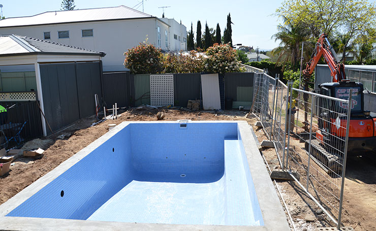 Concrete Pool Before Landscaping