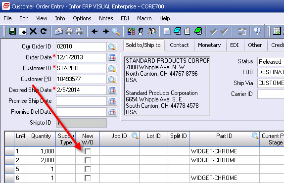 Automatically link new work orders to line items in the customer order entry window