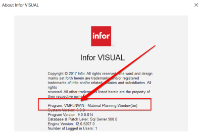 Infor VISUAL ERP About Me