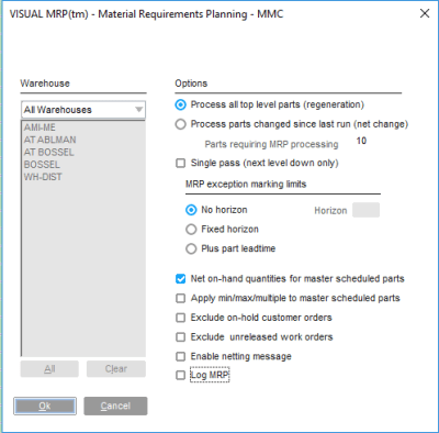 Infor VISUAL ERP MRP Parameters
