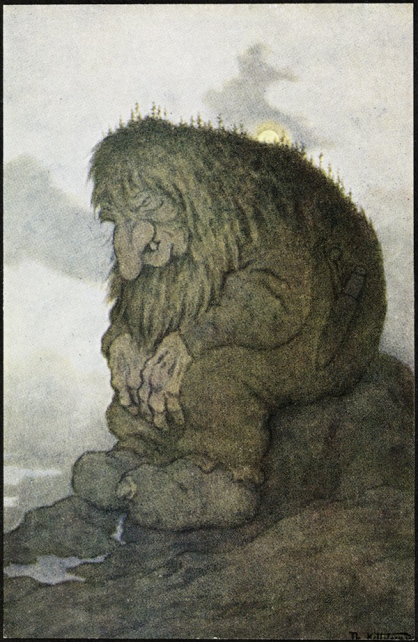 The troll, wondering about its age – Kittelsen