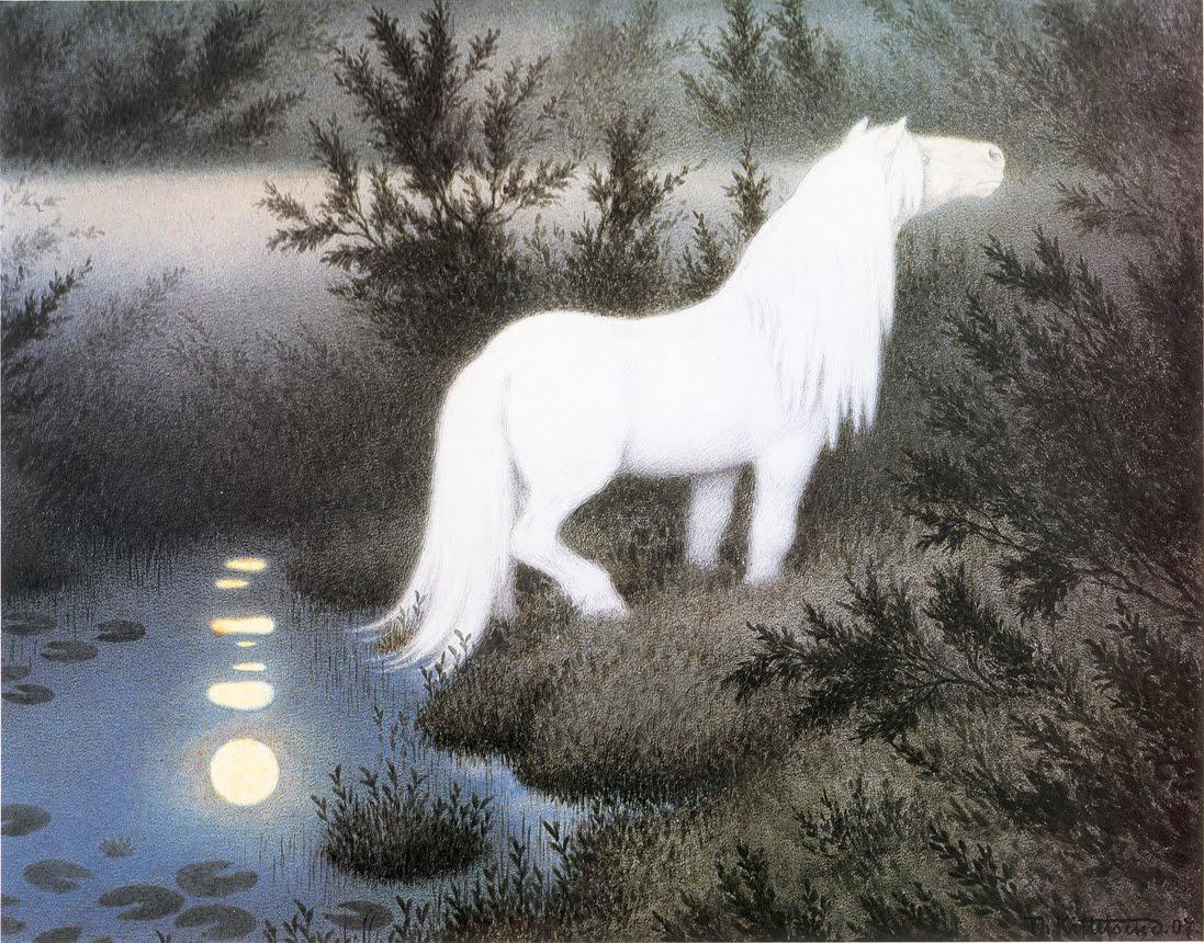 Nøkken as a white horse. Theodor Kittelsen