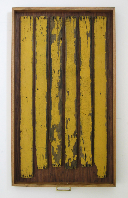 Heidi Barkun, Memoires-TCha. 2008. Recuperated wood, hardware; dark walnut drawer. 71cm x 122cm x 9cm [$1550]