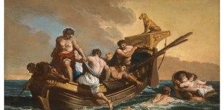 Giovanni Paolo Pannini (Piacenza, 1691–Roma, 1765), Salvataggio di un ragazzo in balia delle onde, olio su tela, cm 44x70,5, Collezione privata