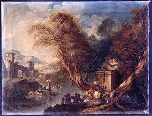 François Boucher (Parigi, 1703–1770), Paesaggio arcadico, olio su tela, Siena, Museo Civico