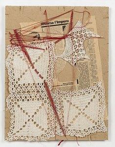 Maria Lai Telaio di guerra 1991 Serie di 5 opere Carta, inchiostro, filo 52x62 cm Gorgonzola, collezione privata Courtesy ©Archivio Maria Lai by Siae 2021