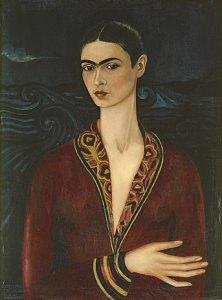 Frida Kahlo Autorretrato con traje de terciopelo 1926 Oil on canvas 79.7x60cm Private collection© Banco de Mexico Diego Rivera& Frida KahloMuseums Trust Mexico DF/2021, ProLitteris, Zurich, Photo: ©akg-images