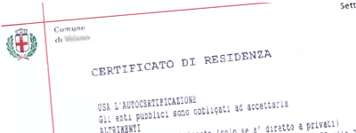 Esempio Certificato Anagrafico Comune di Sassari