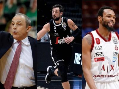 Ettore Messina, Marco Belinelli e Kevin Punter, presentazione finale scudetto basket maschile 2021
