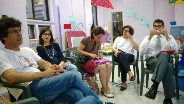 Da sx Massimo Zerbeloni, Paola Castronovo, Anna Pisapia, la responsabile della scuola, Michele Ricci