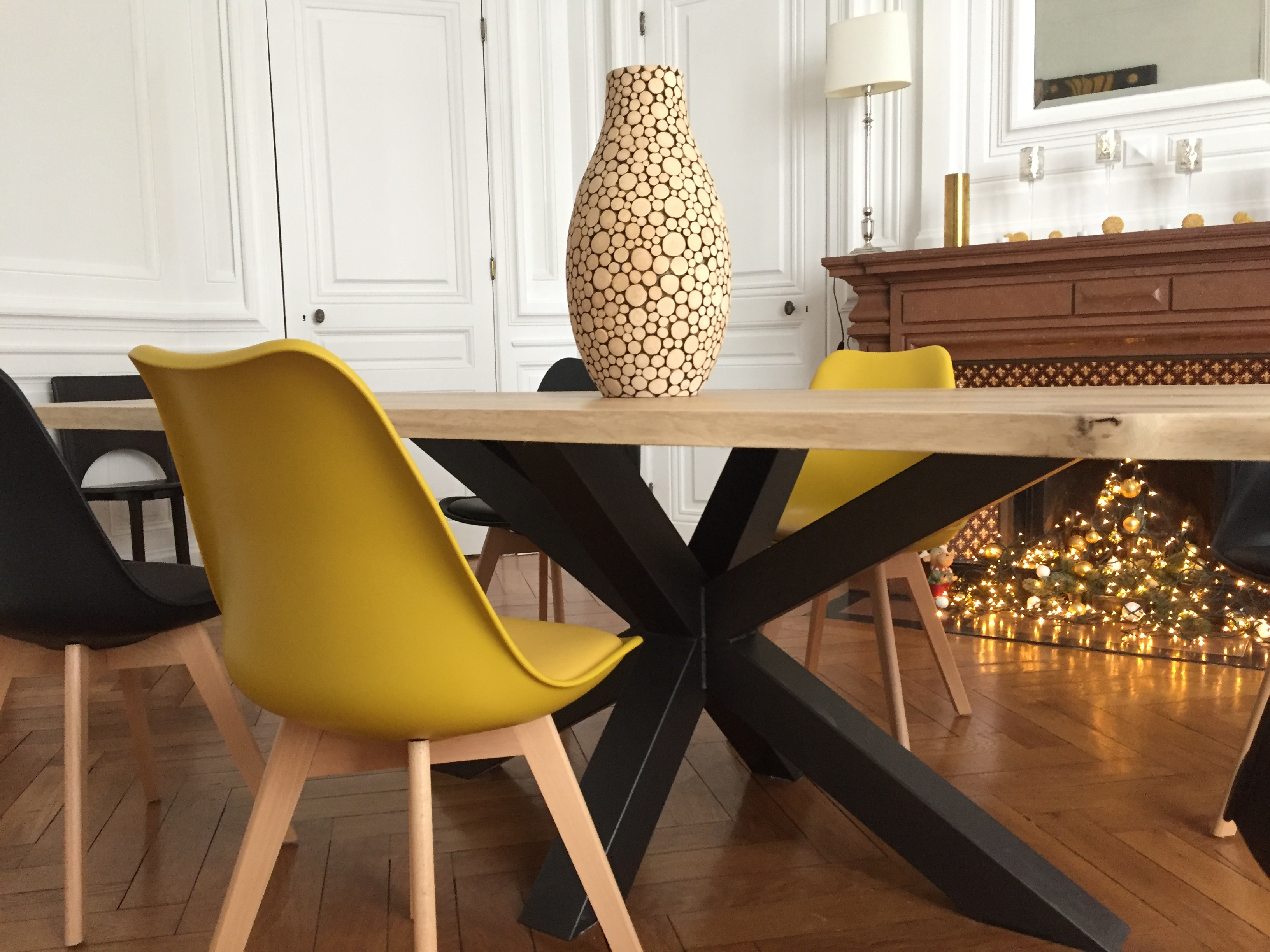 Table Bois Mtal Pied Central Design Industriel
