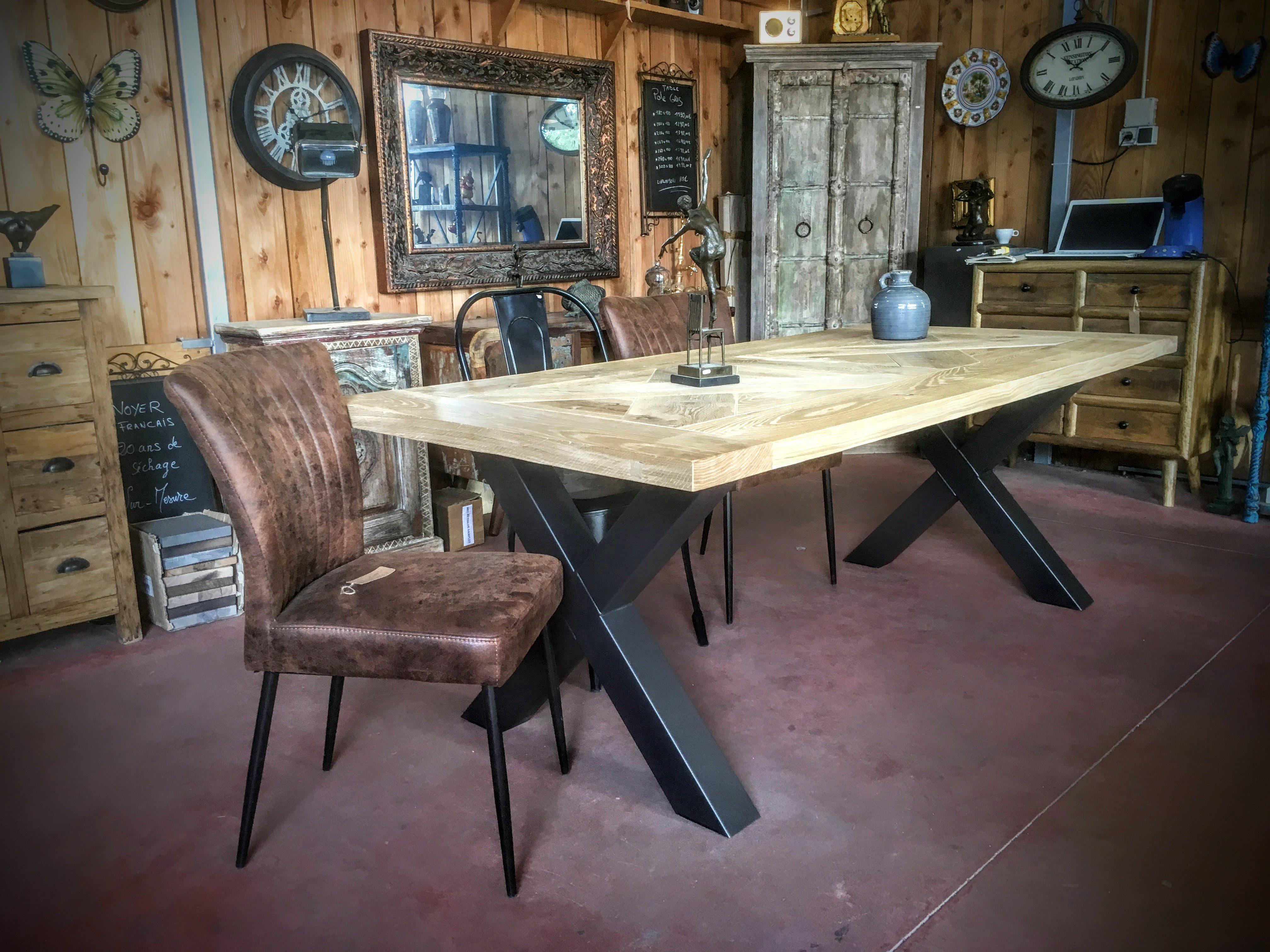 Table Bois Mtal Pied Croix Scandinave Pied En Acier